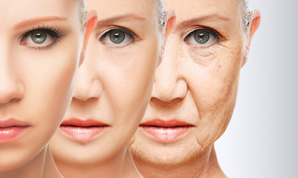 An aging woman in three stages